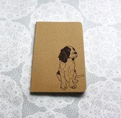 Springer spaniel print nota boek | Afdrukken van de hond | Animal print | Moleskine | Cahier Journal | Lino afdrukken | Handgemaakte | Grootte van de zak |