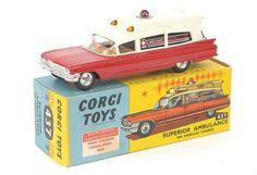 Mettoy Corgi diecast No.437 Cadillac Superior Ambulance cream & red 1962-65<BR>Cadillac Superior Ambulance blue & white 1965-68<BR>Cadillac Superior Ambulance red & silver 1965-68