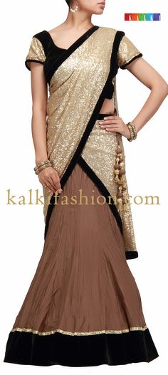 Buy it now http://www.kalkifashion.com/lehenga-choli-in-brown-and-gold-with-sequence-dupatta-hand-made.html Lehenga choli in brown and gold with sequence dupatta-Hand Made
