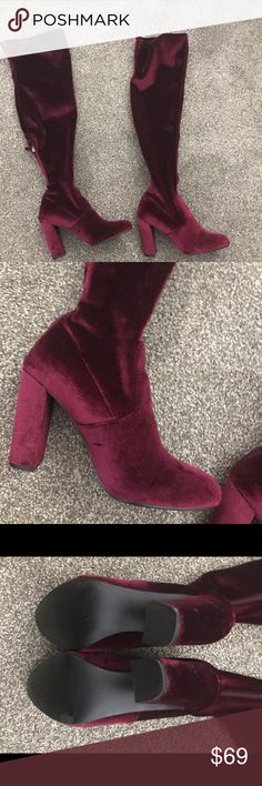 STEVE MADDEN Emotionv Over the Knee Boot size 10 STEVE MADDEN Emotionv Over the Knee Boot Burgundy velvet Size 10 US Steve Madden Shoes Over the Knee Boots