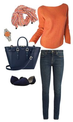 """""""Orange 143"""" by billandnancy on Polyvore featuring Aspinal of London, Rolex, Yves Saint Laurent, Karl Lagerfeld, Eileen Fisher and Serena & Lily"""