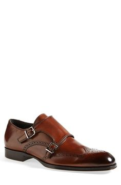 To Boot New York 'Burns' Double Monk Strap Shoe (Men), Wingtip paneling adds sharp texture to a bold monk strap shoe fashioned from burnished calfskin. Me Too Shoes, Men's Shoes, Shoe Boots, Dress Shoes, Double Monk Strap Shoes, To Boot New York, Formal Shoes, Beautiful Shoes, Shoe Collection
