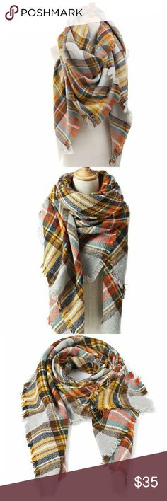 """NWT multicolor blanket scarf Pretty colorful blanket scarf. Perfect for fall. Measures 55"""" x 55"""". Exactly on trend and pairs well with every outfit! ModCloth Accessories Scarves & Wraps"""