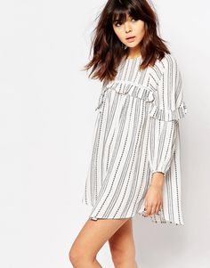 Image 1 ofI Love Friday Smock Dress With Ruffle Trims In Spotted Stripe