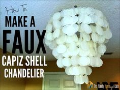 After spotting a gorgeous copper chandelier online, our Weekend Decorator, Megan Pflug, set out to make one for herself using supplies from her local hardwar. Capiz Shell Chandelier, Shell Lamp, Paper Wedding Decorations, Wedding Paper, Diy Projects For Teens, Diy For Teens, Wax Paper Crafts, Cover Lampshade, Diy Wax
