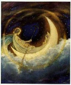 The Moon Boat To Dreamland - Illustration by Hugh Williams Sun Moon Stars, Paper Moon, Moon Magic, Beautiful Moon, Moon Goddess, Luna Goddess, Moon Art, Nocturne, Oeuvre D'art