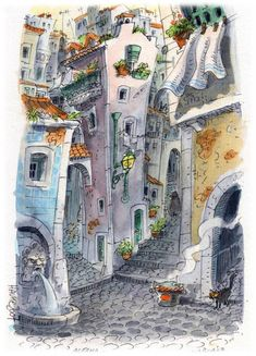 Lisboa Alfama by AtelierGH on DeviantArt Pen And Watercolor, Watercolor Paintings, Perspective Art, Art Watch, Color Pencil Art, Urban Sketching, Deviantart, Travel Posters, Art Quotes