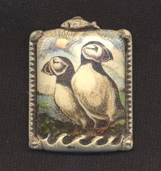 Puffin pin cast scrimshaw technique bird Moosup brooch by moosupvalleydesigns on Etsy https://www.etsy.com/listing/17709590/puffin-pin-cast-scrimshaw-technique-bird