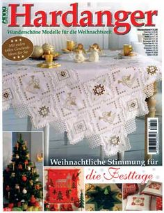 This is Annas 2013 Special Hardanger Christmas issue, A240.  It is packed with over 65 incredible patterns suitable for gift giving or holiday decorating. There are more than 5 table toppers, 25 ornaments, 10 doilies, 5 runners, and 4 table cloths. In addition, there is an Advent calendar, Wine Bottle Apron, Tissue Box cover, cards, pillows and curtains.  The magazine is in German, however, an experienced Hardanger embroiderer should be able to figure out the patterns from the wonderful…