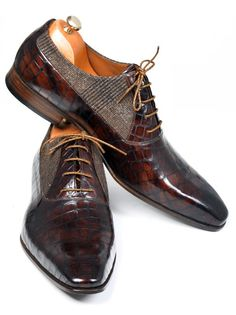 Handmade Brown Leather Fabric Men Shoes
