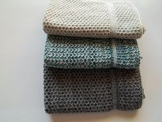 Dishcloths knit in cotton  Honey Teal/opal Grey by TheNeedleHouse, $10.00