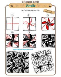 Arrullo Tangle, Zentangle Pattern by Carlos Cano Zentangle Drawings, Doodles Zentangles, Doodle Drawings, Doodle Art, Flower Drawings, Zen Doodle Patterns, Zentangle Patterns, Doodle Borders, Tangle Doodle