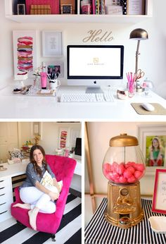 This home office + creative workspace has a gumball machine! IKEA desk top and drawers. Love the b&w stripe rug from Crate & Barrel and the pink chair is fabulous!