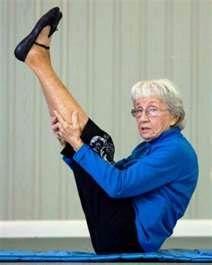 Bernice Bates is the oldest yoga teacher at age 91!