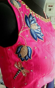 Flower embroidery done on pink raw silk.. get it done at mytailor.in