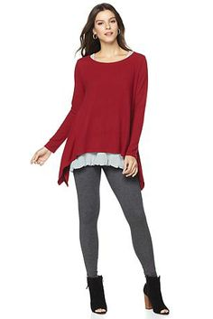 A great cold-weather staple for fall! This cozy sweater from Daisy Fuentes features flattering angles and feel good fabrics.