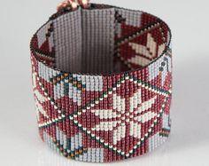 Items similar to Baroque Floral Bead Loom Bracelet Bohemian Boho Artisanal Jewelry Beaded Romantic Purple Pink Silver Intricate Unusual on Etsy