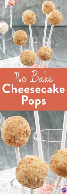 No Bake Cheesecake Pops - Stick it to 'em with Cheesecake Pops! Each tasty treat of these No Bake Cheesecake Pops is rolled in graham crackers and positioned on a lollipop stick to make a unique prese(Baking Cheesecake) Cheesecake Pops, Cheesecake Recipes, Cheesecake On A Stick Recipe, No Bake Cheesecake Filling, Raspberry Cheesecake, Bake Sale Treats, Bake Sale Recipes, No Bake Desserts, Easy Desserts