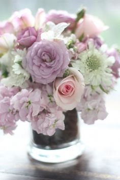Lavender roses & stock with white scabiosa