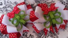 Happy Little Trees layered hair bow set. So by AvaLaurenDesigns