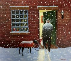 Lovely painting by Steve Sanderson. Dog Day Afternoon, Greyhound Art, Fairytale Fantasies, Grey Hound Dog, Happy Paintings, Naive Art, Whippet, Christmas Art, Animal Paintings
