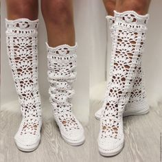 Boots Summer women's knitted white Very beautiful model of fishnet boots Booties Crochet, Crochet Shoes Pattern, Crochet Sandals, Crochet Flower Patterns, Knit Crochet, Bootie Boots, Shoe Boots, Knitted Slippers, Denim And Lace
