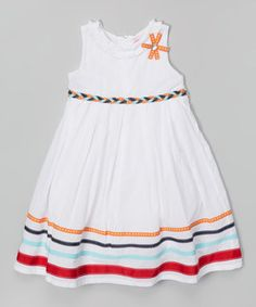 Look at this #zulilyfind! White Stripe A-Line Dress - Infant, Toddler & Girls by Donita #zulilyfinds