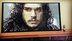 Jon Snow - Game of Thrones perler portrait by pixelatedportraits13