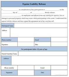 Horse Template Printable | Equine Liability Release Form,sampel Equine Liability Release Form ...