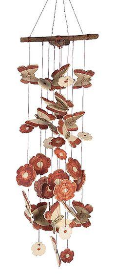 """Caramba Ceramic Windchimes """"Flutter"""" butterflies"""