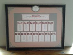 Table plan, layered with heart and ribbon details. £3.50 for each table backing and frame couples own. Many colours available. See www.whiteroseinvitations.co.uk  for other options.