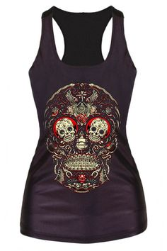This sexy racerback tanks adorned with skull print on the front. Available in 13 eye-catching different prints. Material : Polyester Please make sure that you double check our size chart and size fits