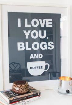 Blogs & Coffee (Navy Blue) - $25.00, via Etsy.