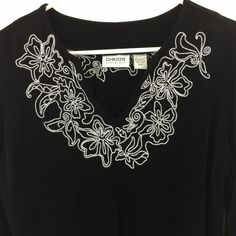 Chico's #Travelers 1 S M Top Embroidered Black Acetate Slinky Knit Blouse 8 10 #Chicos