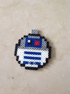 R2D2 Star Wars Christmas ornament perler beads by Heather Bergstedt