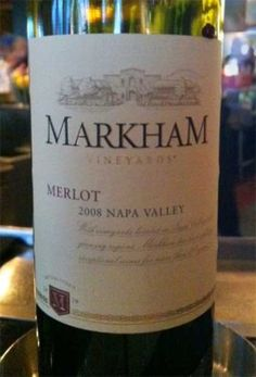 2008 Markham Merlot - wonderfully smooth wine that pairs well with steak, prime rib, red sauced pastas and strong cheeses. Price: $15-$20 Rating: 4/5 corks