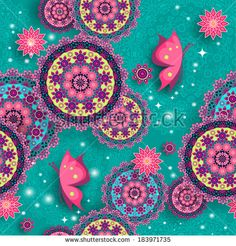 Geometric seamless floral pattern with lights-transparency blending effects and gradient mesh-EPS 10