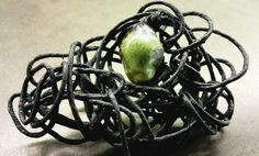 Pin with Raku ceramics