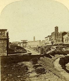 Forum Roman Panorama Roma Italia Old Stereoview 1859