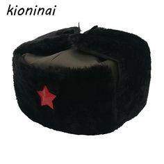 a6c0266f7bb Russian Hat Ushanka Bomber Hat Army Military Caps Mens Winter Hats Ear Flaps  PU Black Chapka