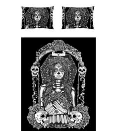 Day of the dead BEDDING SET  Dia De los muertos Rockabilly Black and white gothic - KING  Comforter  and 2 Pillow covers Sugar Skulls
