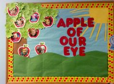 """Fall/ Apple Bulletin Board-Could do """"The apple of God's eye"""" Apple Bulletin Boards, Toddler Bulletin Boards, September Bulletin Boards, Class Bulletin Boards, Bullentin Boards, Toddler Classroom, Apple Theme Classroom, Classroom Themes, Bible School Crafts"""