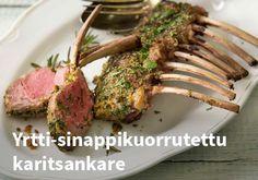 Yrtti-sinappikuorrutettu karitsankare, Resepti: Valio #kauppahalli24 #pääsiäinen #karitsa #ruoka #resepti Beef, Chicken, Food, Meals, Yemek, Steak, Cubs, Eten