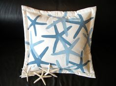 Starfish pillow blue finger star seastar 20x20 by crabbychris, $41.00