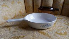 Corning Ware Small Fry Pan Blue Cornflower Retro Kitchen Corn Flower White Vintage P 83 B by GrandesTreasures on Etsy