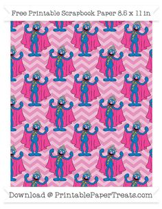 Free Pastel Bubblegum Pink Chevron Large Grover Pattern Paper - Sesame Street