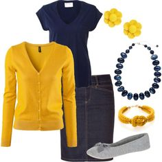 Navy and Mustard Yellow with denim skirt. Can be done with jeans too, white shirt. lots of options! with an under shirt to bring up the neckline