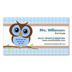 Customizable cute apple owl school teacher business card teacher owly blue teacher business cards accmission Images