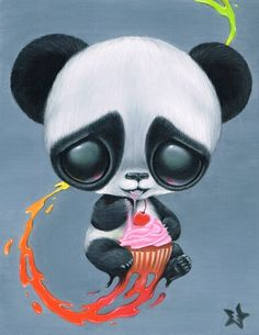 Sugar Fueled Panda Cupcake Animal Paint Rainbow Splash Cherry Lowbrow creepy cute big eye art print