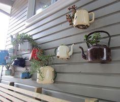 Renaissance Little Green Book: Enamel kettle & pot planters - Inspirational Recyclying